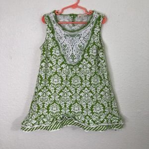 Trish Scully Child Shift Dress Green White Floral